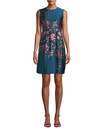 Glasgow Silk Dress w/ Flowers