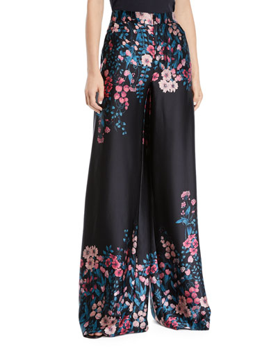 Symbolic Flared Floral Silk Pants