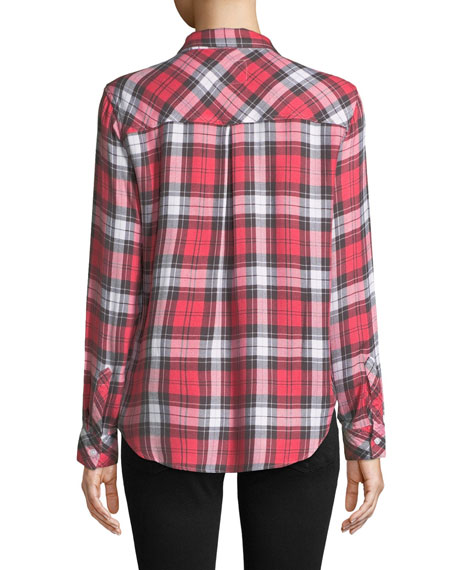 Hunter Plaid Long-Sleeve Button-Front Top