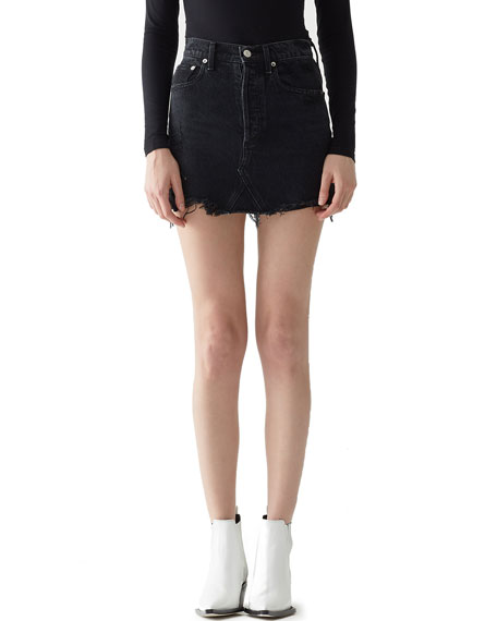 Quinn High-Rise Frayed Denim Mini Skirt