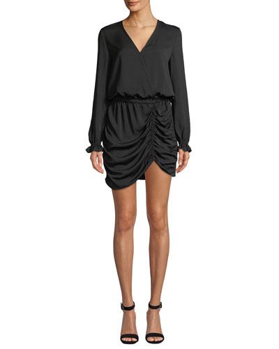 Alec Ruched Long-Sleeve Mini Dress
