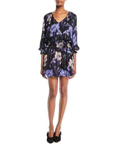 Milene Floral V-Neck Silk Mini Dress