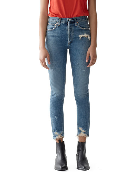 AGOLDE Jamie High-Rise Distressed Skinny Jeans with Chewed