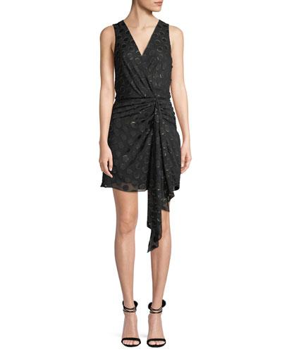 Desiree Sleeveless Dot Applique Metallic Mini Dress