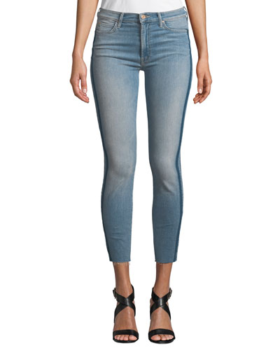 Stunner Skinny Step-Hem Frayed Jeans with Racer Stripes