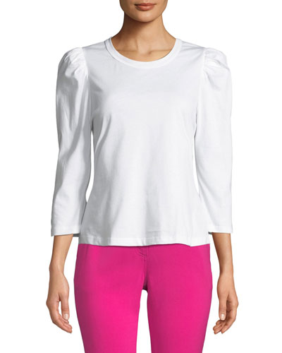 Karlie Crewneck 3/4-Sleeve Cotton Tee