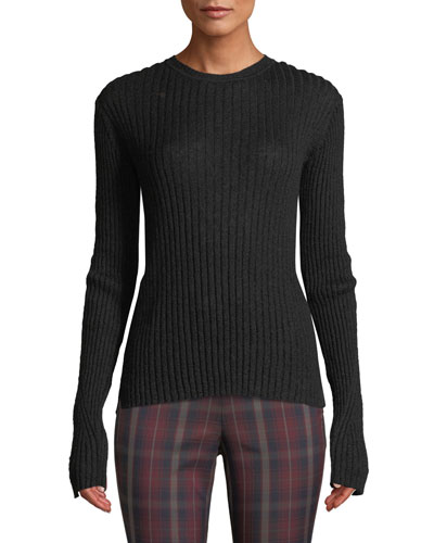 Donna Ribbed Crewneck Mohair Top