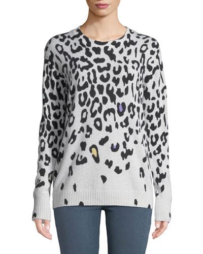 Leopard-Print Cashmere Crewneck Sweater