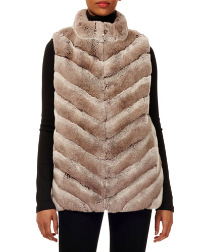 Chevron Rabbit Fur Zip-Front Vest w/ Knit Back
