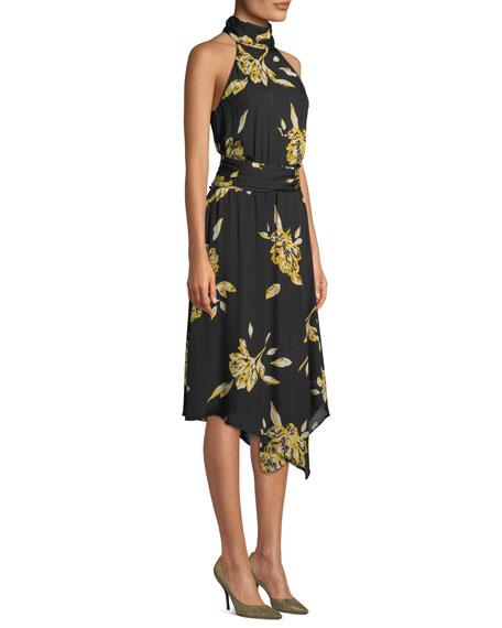 Kehlani Floral-Print Silk Halter Dress