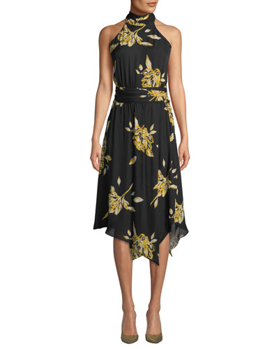 a28639dc57f Kehlani Floral-Print Silk Halter Dress Quick Look. Joie