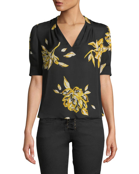 Joie Ance Short-Sleeve Floral Silk Top