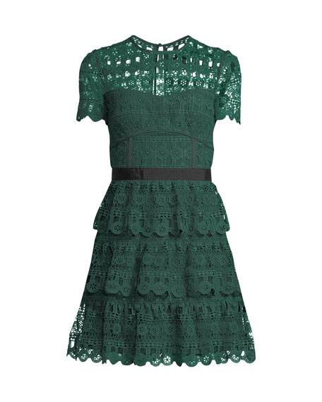 Tiered Lace Guipure Short-Sleeve Cocktail Dress