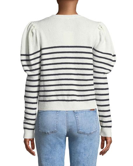 Ruthine Button-Shoulder Stripe Sweater