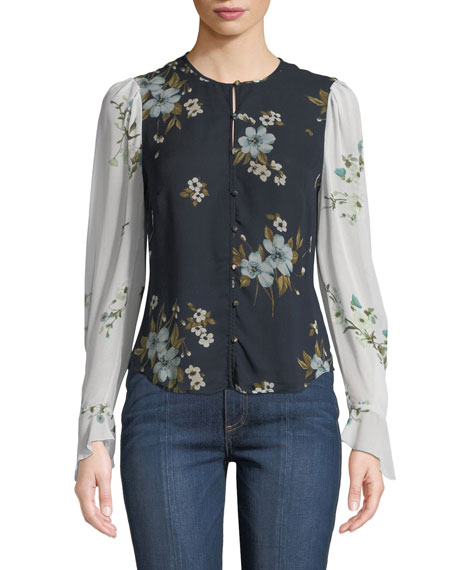 Abboid Floral Silk Long-Sleeve Top
