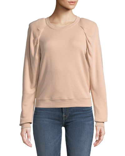 Korbyn Puff-Sleeve Cotton Crewneck Pullover Sweatshirt