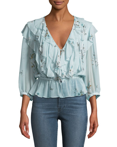 Arleyne Ruffled Floral Silk Top