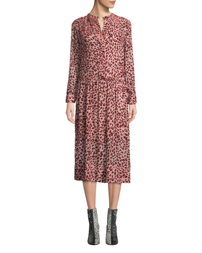 Gia Velvet Burnout Long-Sleeve Shirtdress