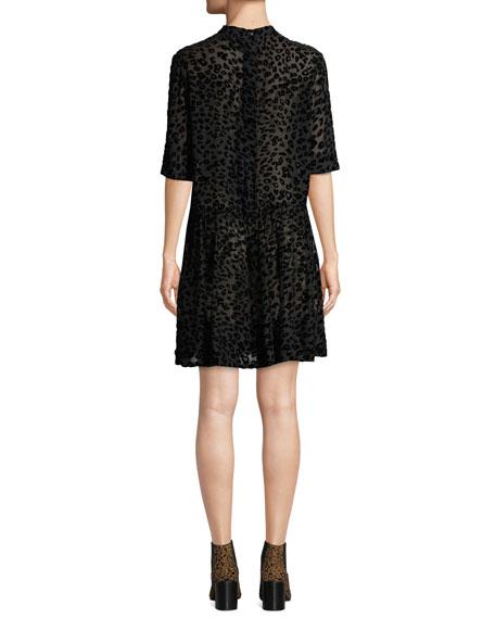 Gia Animal-Print Velvet Burnout Shift Dress