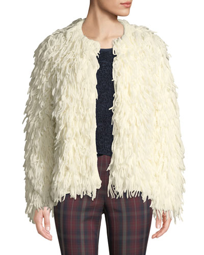 Amber Shaggy Wool Fringe Jacket