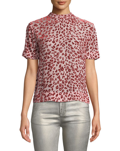 Gia Animal-Print Velvet Burnout Tee