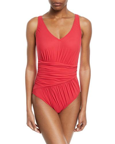 Vista Shirred V-Neck One-Piece Swimsuit
