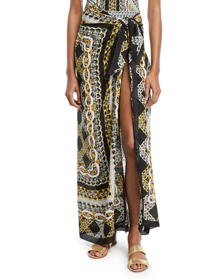 Gottex CHAINS OF GOLD PRINTED COVERUP PAREO