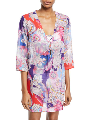 Kashmir Printed Lace-Up Coverup Tunic