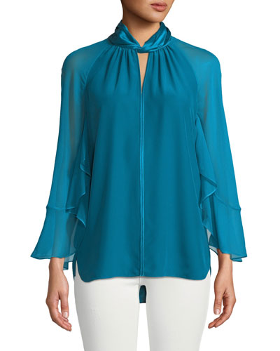 Adrianna Long-Sleeve Silk Halter Blouse