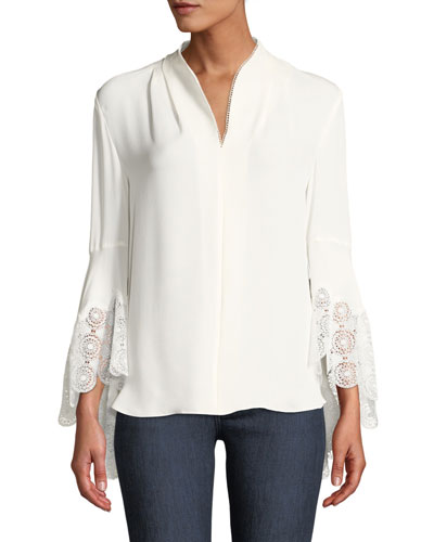 Gaia Lace-Cuffs Silk Blouse