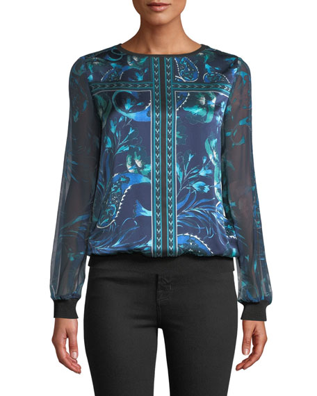 Elie Tahari MARA LONG-SLEEVE SILK BLOUSE