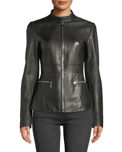 Deepa Zip-Front Leather Jacket