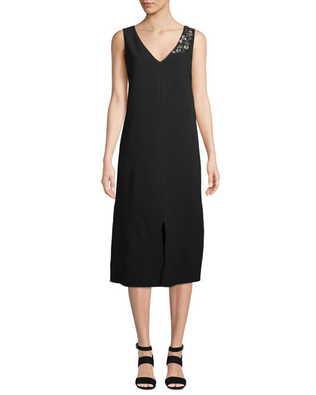 Dante Finesse Crepe Dress with Embellished Detail