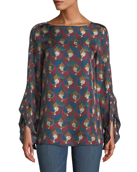 Emory Deco Relief Silk Blouse