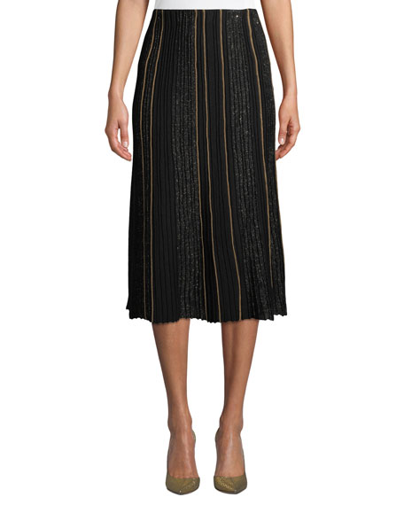 Lafayette 148 New York Fluted Ottoman-Pleated Silk Skirt