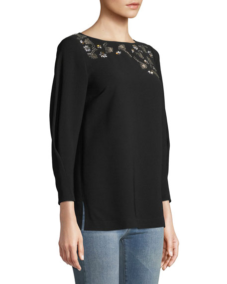 Caddie Finesse Crepe Blouse with Embellished Detail