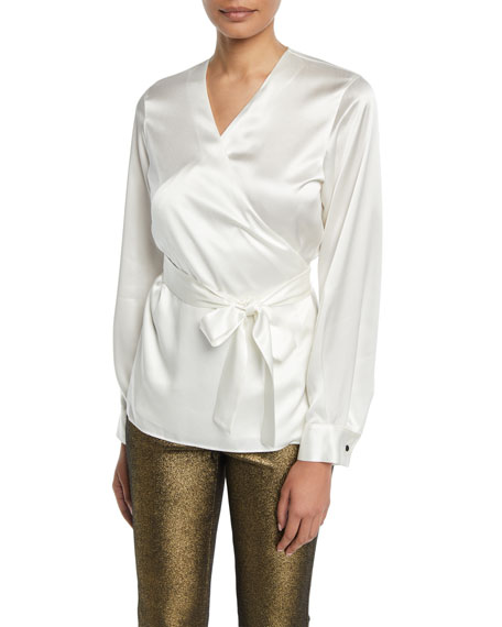 Lafayette 148 New York Freya Charmeuse Wrap Blouse
