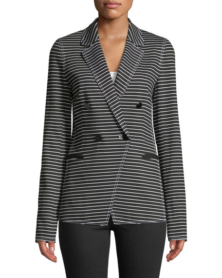 Lafayette 148 New York Devin Double-Breasted Striped Twill