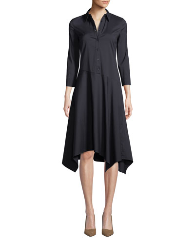 Rizzo Stretch Cotton Midi Shirt Dress
