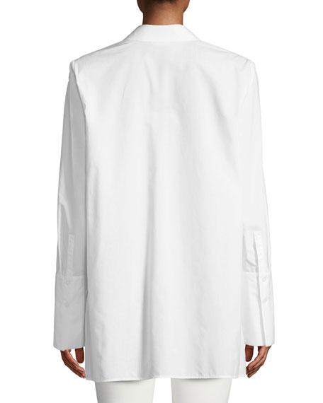 Porto Placed Palms Button-Front Cotton Blouse