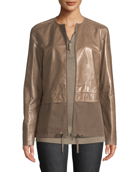 Lafayette 148 New York Albany Lacquered Leather Jacket