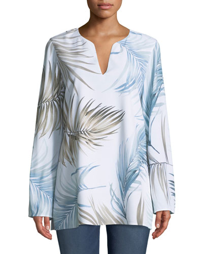 Wilmer Long-Sleeve Posh Palm Printed Drape Cloth Blouse