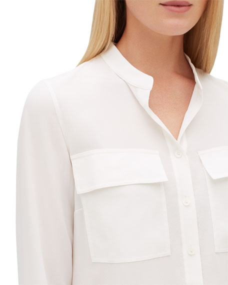 Russell Long-Sleeve Lightweight Sand-Washed Silk Blouse