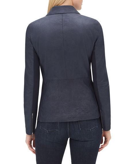 Elwood Zip-Front Weathered Lambskin Leather Moto Jacket w/ Ponte Combo