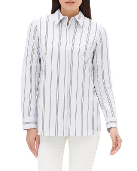 Velma Long-Sleeve Sonoran Striped Cotton Blouse
