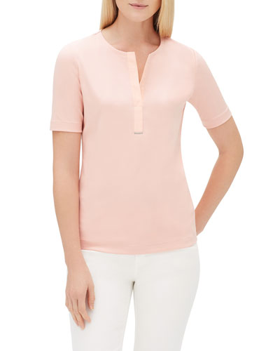 Gretel Short-Sleeve Swiss Stretch-Cotton Crewneck Top w/ Chain Detail