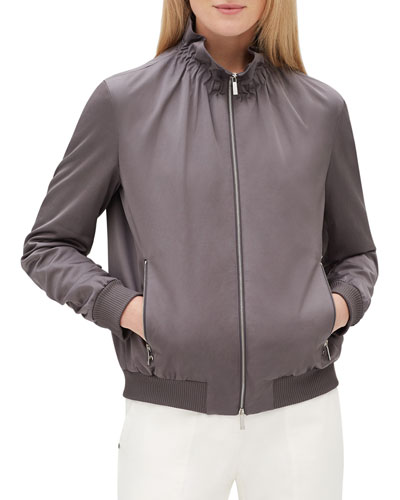Kiki Zip-Front Long-Sleeve Urbane Satin Jacket w/ Ribbed Cuffs & Hem