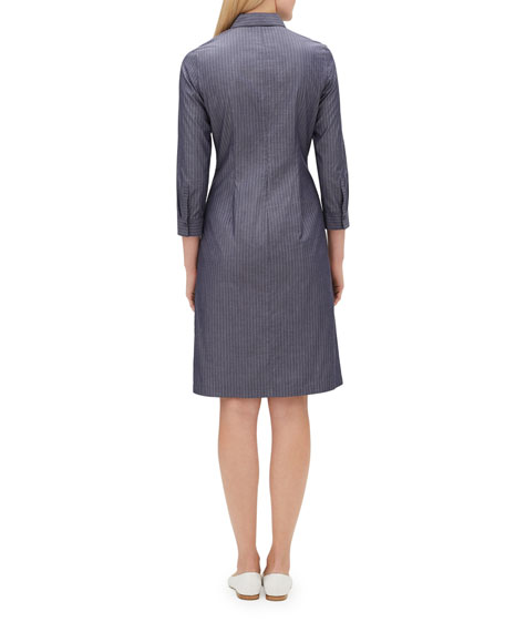 Federica 3/4-Sleeve Button-Front Avalon-Striped A-line Dress