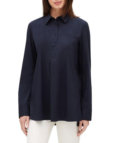 Casper Long-Sleeve Stretch-Cotton Blouse