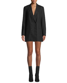 Norden Double Breasted Long Wool Blazer Dress by Equipment